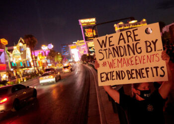 Events and entertainment workers protest unemployment on Aug. 19 in Las Vegas.