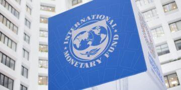 The International Monetary Fund's logo at its headquarters in Washington, D.C.