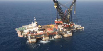 An aerial view shows the newly arrived foundation platform of Leviathan natural gas field, in the Mediterranean Sea, off the coast of Haifa, Israel January 31, 2019. Marc Israel Sellem/Pool via REUTERS/File Photo