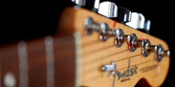 "A detail of a ""Made in USA"" Fender Telecaster model electric guitar is pictured in Rome, Italy August 15, 2018."