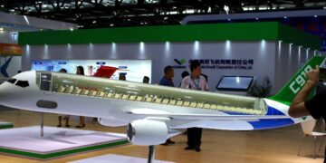 A model of C919 passenger jet by Commercial Aircraft Corp of China Ltd (COMAC) is displayed at Aviation Expo China 2017 in Beijing, China September 19, 2017.