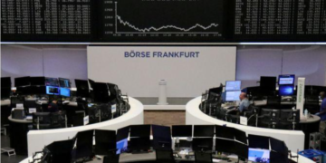 The German share price index DAX graph is pictured at the stock exchange in Frankfurt, Germany, October 15, 2020.
