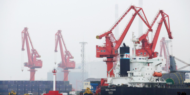 A crude oil tanker is seen at Qingdao Port, Shandong province, China, April 21, 2019.