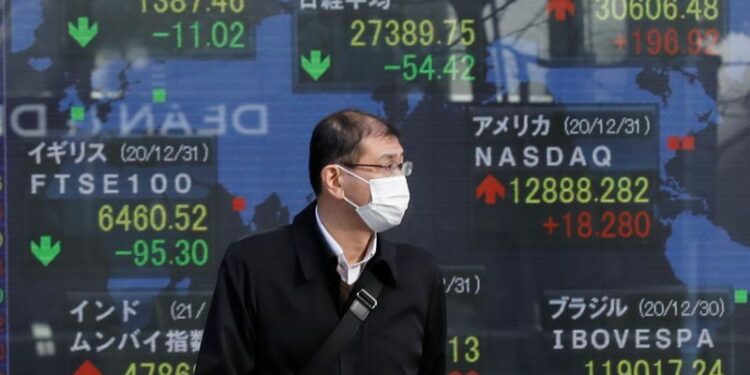 FILE PHOTO: A man wearing a facial mask, following the coronavirus disease (COVID-19) outbreak, stands in front of an electric board showing Nikkei (top in C) and other countries stock index outside a brokerage at a business district in Tokyo, Japan, January 4, 2021. REUTERS/Kim Kyung-Hoon