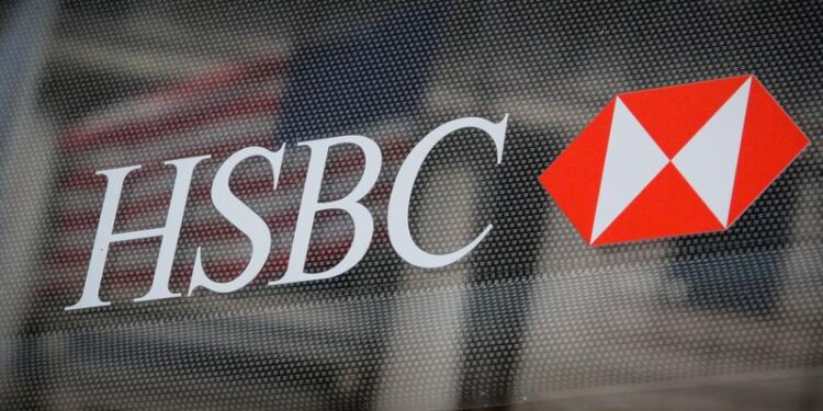 HSBC logo is seen on a branch bank in the financial district in New York, U.S., August 7, 2019.