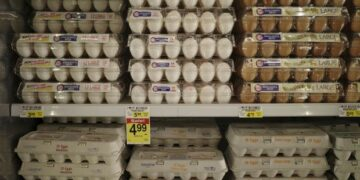 Inflation is expected to pick up in the next few months as the economy reopens. Here, an Albertsons grocery story in San Diego.